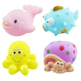 Baby Bath Squeaky Toys Corlorful Rubber Marine Animals Pack of 4 Pieces