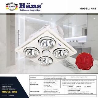 Đèn sưởi âm trần Hans 4 bóng H4B, dùng hộp công tắc - Bảo hành 12 tháng toàn bộ đèn