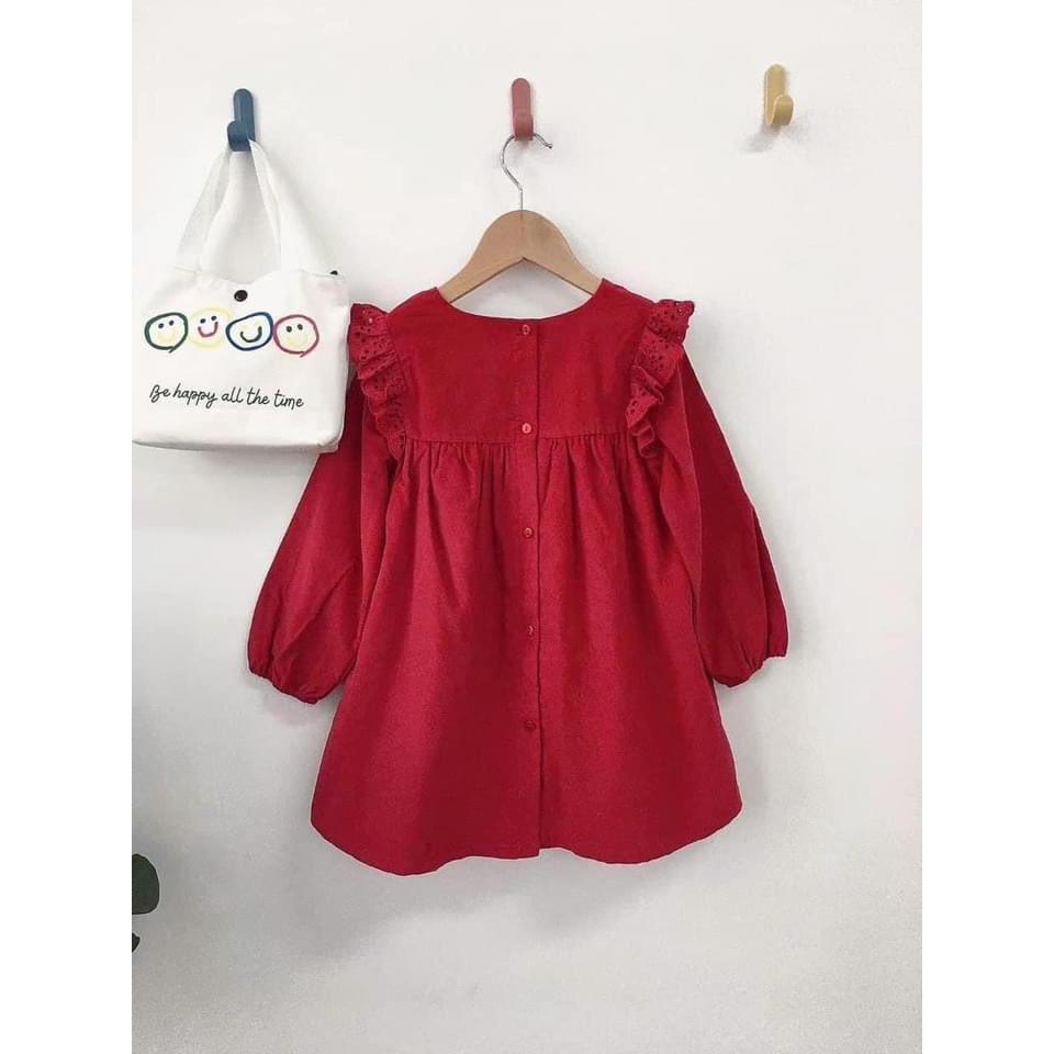 váy nhung tăm đỏ babe doll bé gái