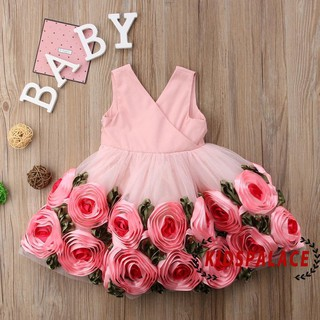 Đầm công chúa xòa cổ chữ V cộc tay họa tiết hoa xinh xắn cho bé gái