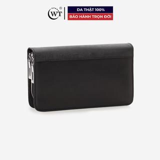 Ví Cầm Tay Nam Clutch Da Dê Phối Da Bò Cao Cấp Màu Đen WT Leather 070138802