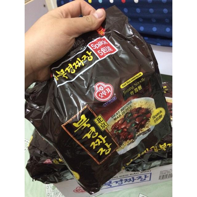  Lốc Mỳ Khô Hàn  Mỳ Trộn OTTOGI Tương đen Bắc Kinh 675g(135g x5 gói)