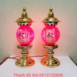 1 đôi đèn xi đồng cỡ to chiều cao 38cm