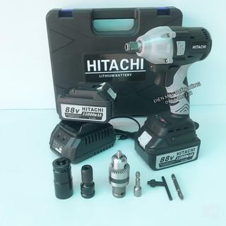 Máy siết bulong Hitachi 88V 2 pin 15000mAh, không chổi than, đầu 2 trong 1 - KÈM PHỤ BỘ PHỤ KIỆN