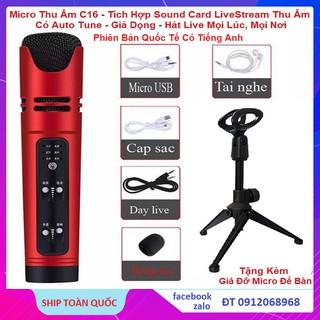 Micro C16 Phiên Bản Quốc Tế, Tích Hợp Sound Card Chuyên Thu Âm, Live Stream, Karaoke Oline, Tặng Kèm Giá Đỡ Micro Để Bàn thumbnail