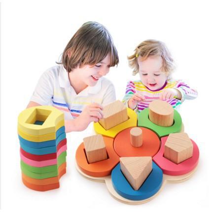 [FREESHIP] Bộ xếp chồng hình hoa bằng gỗ cho bé học màu sắc, hình dạng