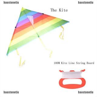 【HAO】Rainbow Triangle Nylon Outdoor Sports Flying Kite Kite Line String Boa