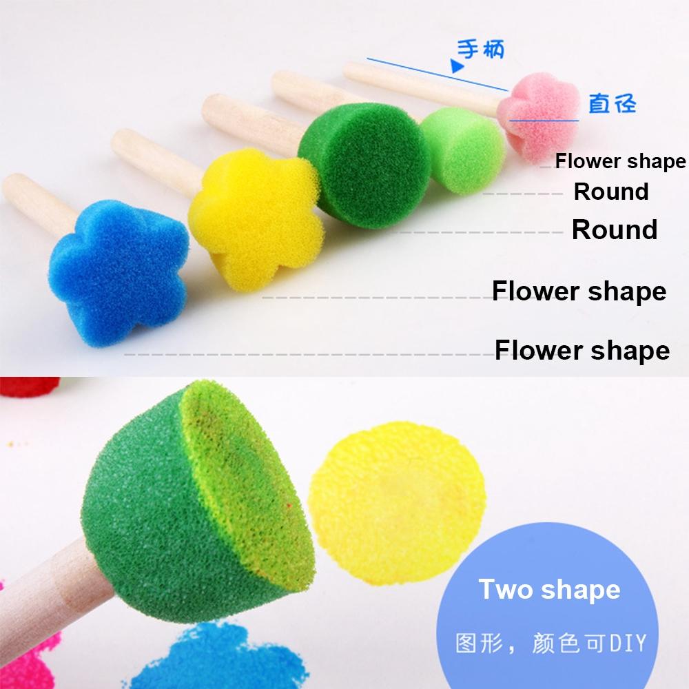 5pcs/set Kids Gift Educational Graffiti Flower Pattern Wooden Handle Sponge Brush
