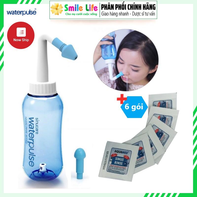 Bộ rửa mũi Water Pulse + 6 gói Muối Aquamed ® - THÔNG SẠCH MŨI NGĂN NGỪA VIÊM XOANG