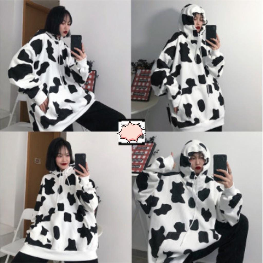 💖 MẪU HÓT 💖 Áo hoodie bò sữa unisex form rộng họa tiết bò sữa cực đẹp thời trang năng động, Áo Bò Sữa Có Mũ