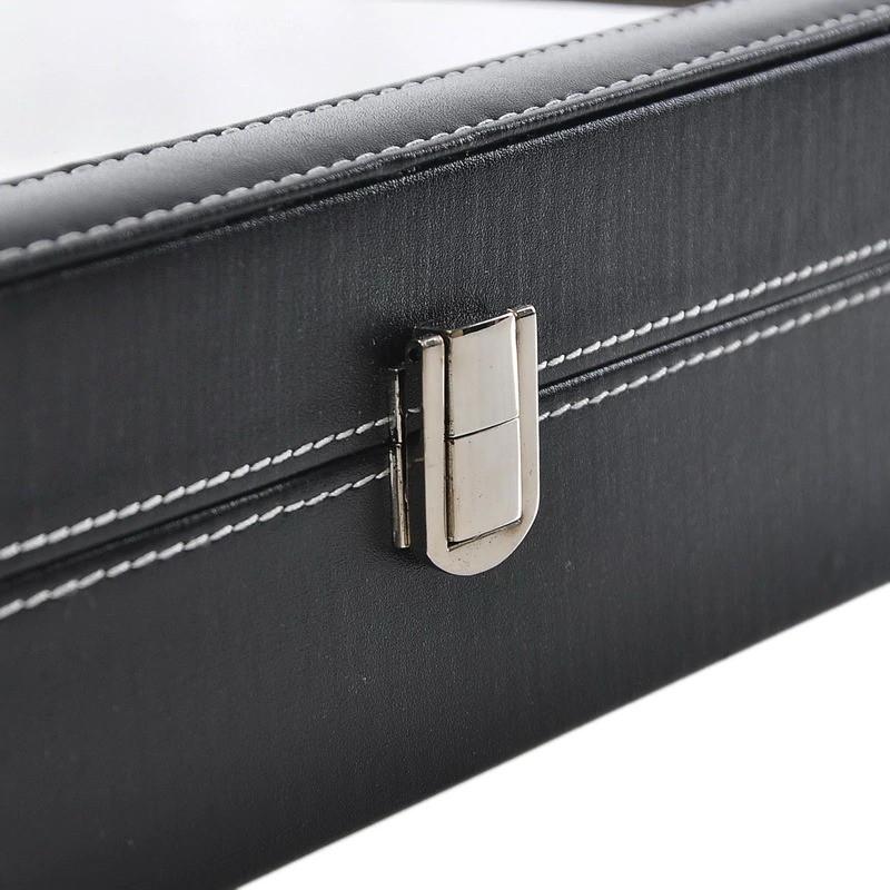 Hộp đựng đông hồ 10 ngăn, có khóa chốt bảo vệ, bề mặt trên có lớp nhựa kính (mua kèm dụng cụ tháo dây DH)