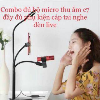 [Combo] Bộ hát karaoke, live tream trên điện thoại ( Chân đế kẹp mic 3in1 có đèn Led + Micro C7) 2 món