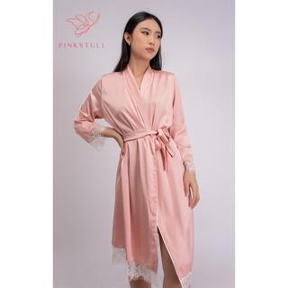 Áo choàng lụa Pijamas Pink Stull trơn màu hồng và trắng- ren trắng Freesize thumbnail