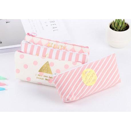 Hộp bút kẻ hồng hộp bút dễ thương