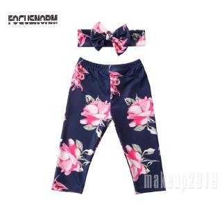 Mu♫-Baby Girls Floral Pants+Headband Navy/Light Blue