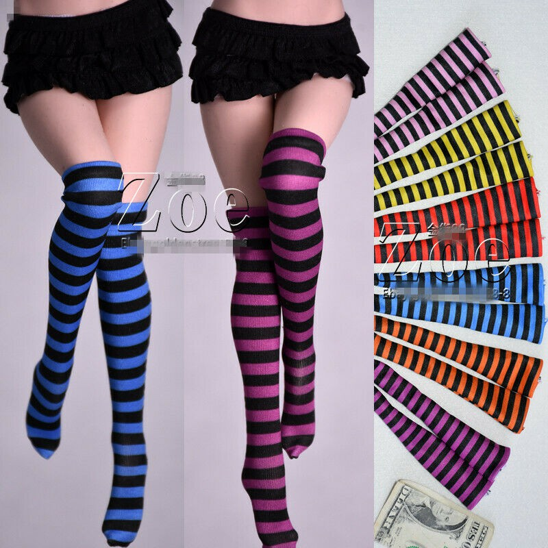 1/6 Female Knee-length Striped Socking Fit 12″ PH TBL JO UD Figure Body Toys