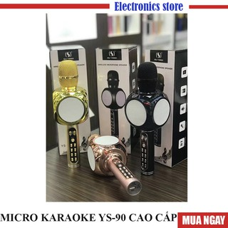 Micro Karaoke Bluetooth YS90 tròn - Âm thanh cực chuẩn I Bảo hành 6 tháng