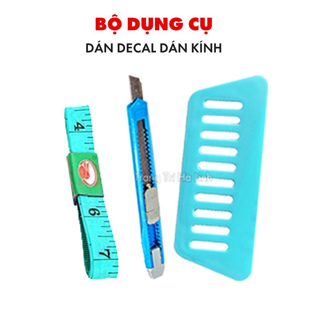 Bộ dụng cụ hỗ trợ dán giấy decal dán kính gồm thước dây, dao rọc giấy và miếng gạt nhựa giá rẻ