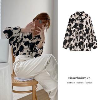 """Xiaozhainv Áo sơ mi dài tay cổ bẻ họa tiết thời trang Hàn Quốc nữ tính giá chỉ còn <strong class=""""price"""">12.400.000.000đ</strong>"""