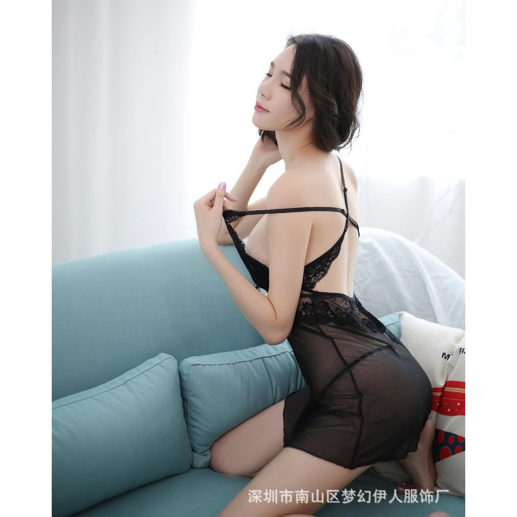 [BIGSize L/XL/2XL 45-70kg]💯✴FREESHIP✴/ Váy ngủ ngắn vol thun sexy phối ren chéo lưng kèm quần lót dây lọt khe SL100