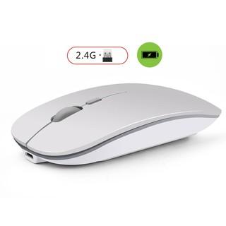 Chuột không dây tự sạc M1 (Wireless Mouse Re-chargeable) chuyên dùng cho Máy tính, Laptop (Bạc) – Tặng lót chuột