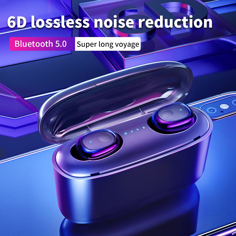 Bluetooth 5.0 6D Wireless Earphones 2000MAh Power for iPhone Xiaomi
