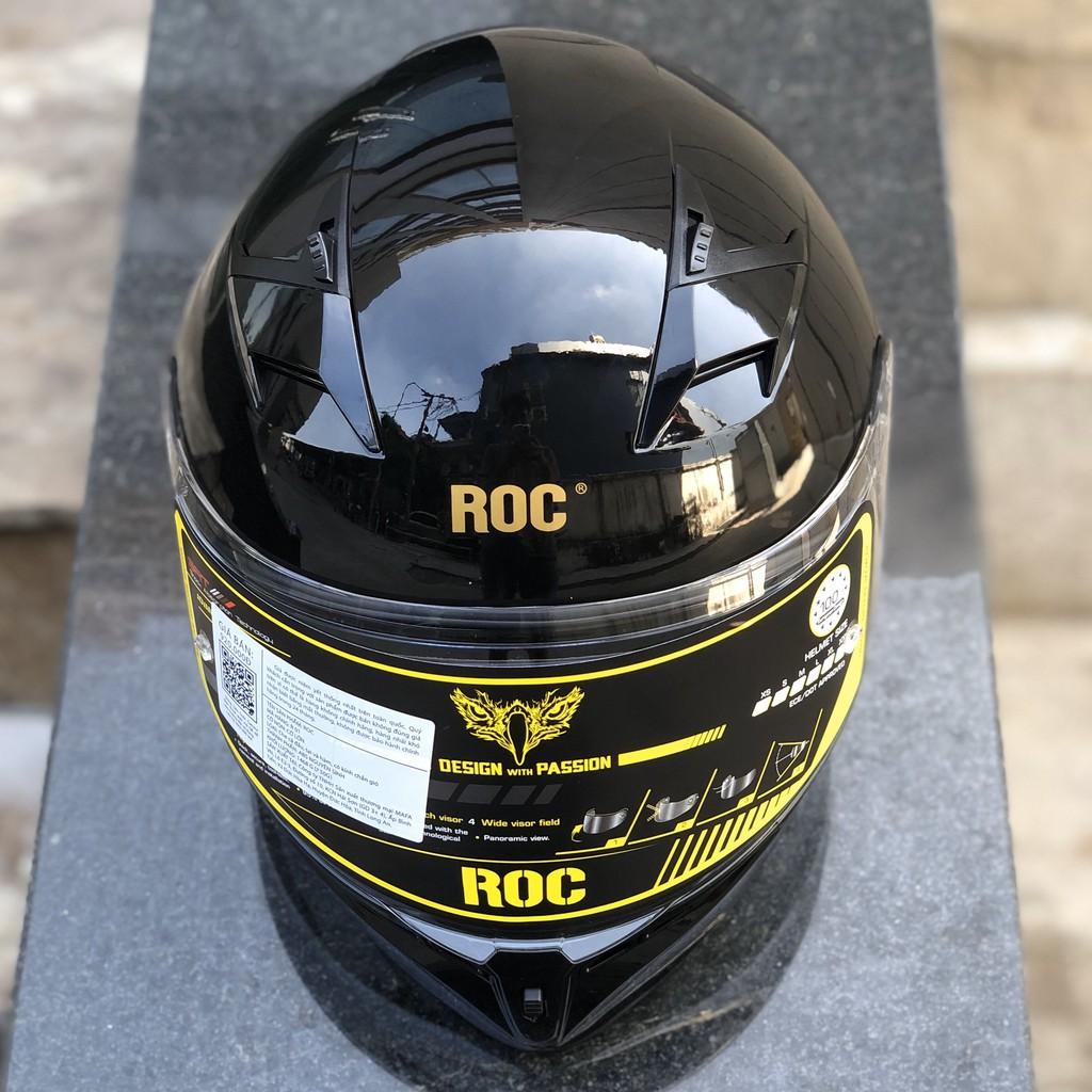 Nón bảo hiểm fullface ROC R01 đen bóng tặng pinlock