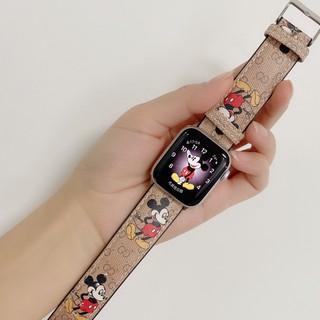 Dây Da Họa Tiết Chuột Mickey Cho Đồng Hồ Apple 44mm 42mm 38mm 40mm T500 Iwatch Series 6 Se 2 3 4 5