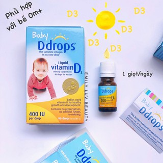 Vitamin D3 Baby Ddrops Mỹ cho bé 0-12 tuổi