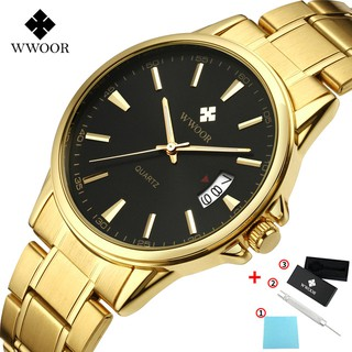 Đồng hồ đeo tay WWOOR 8833 máy Quartz chống thấm nước phong cách thời trang bằng thép không gỉ cho nam giới