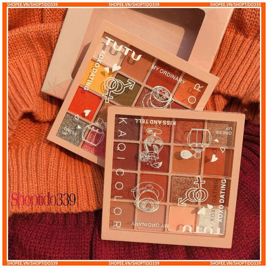 Shoptido339 - Bảng Phấn Mắt 16 Ô TuTu KaQi Color Eyeshadow Palette Có Tone Nhũ Cực Đẹp chính hãng Nội Đia Trung 5268