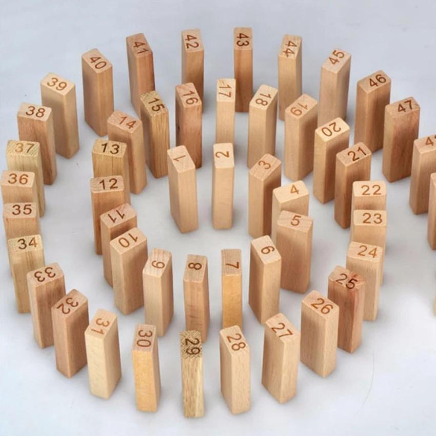 Bộ đồ chơi rút gỗ Wood toys 48 thanh kèm 4 con súc sắc cho bé (Loại lớn
