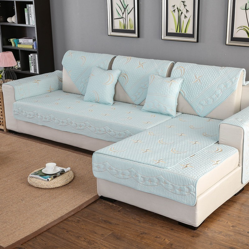 Pujiang washed cotton embroidered Xingyue sofa cushion manufacturer on behalf of the four seasons quilted cotton sofa cushion cover
