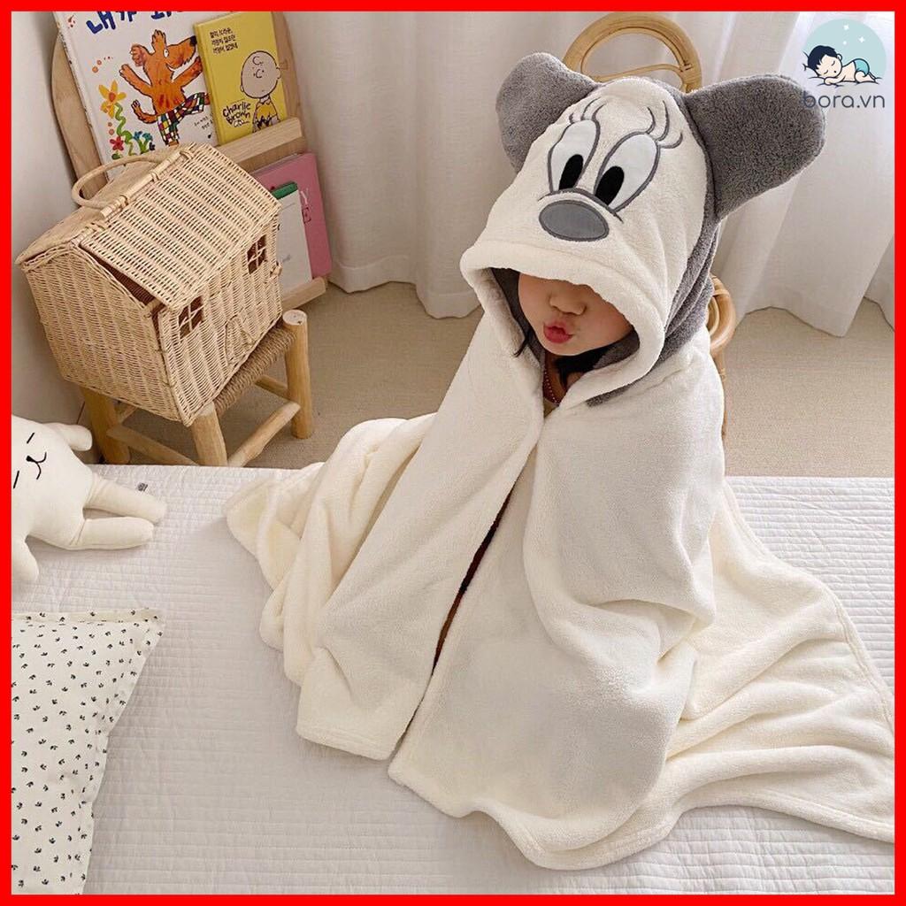 Khăn tắm cho bé có mũ trùm đầu dễ thương, dùng làm khăn choàng cho bé khi ra ngoài