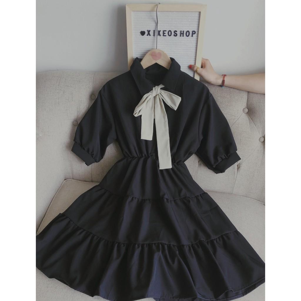 Mặc gì đẹp: Bồng bềnh với  Váy đầm babydoll cổ nơ đen trắng, đầm dáng xoè tay phồng siêu xinh xixeoshop - V18