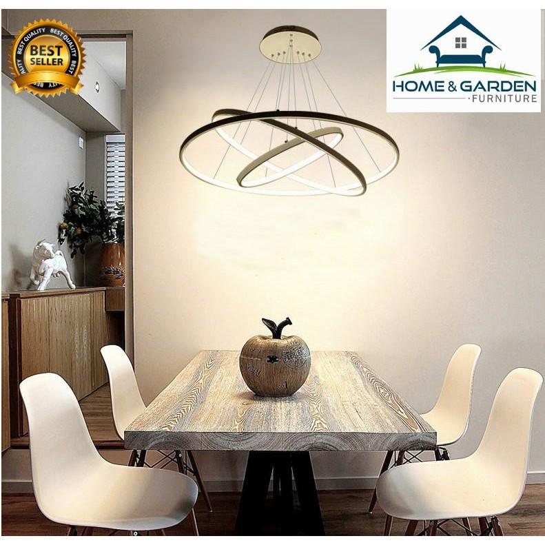 Đèn trần trang trí, đèn thả trần hình vòng cung 3 tầng cao cấp Home and Garden (20+40+60CM/75W) (Ánh
