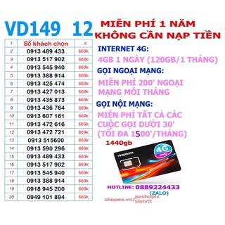 Sim VD149 4gb 1 ngày 12 tháng không cần nạp khách chọn số đẹp.