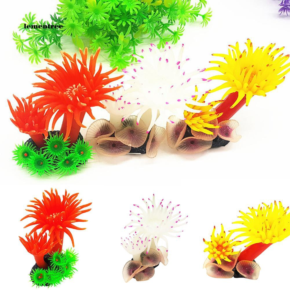 [LE]Soft Silicone Artificial Corals Simulation Aquarium Plant Fish Tank Ornament