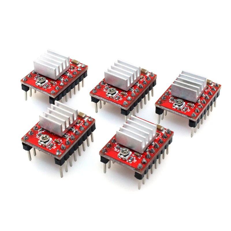Set 5 Mô Đun Điều Khiển Động Cơ Bước A4988 Bằng Nhôm Tản Nhiệt Cho Máy In 3d Rrerap Ramps 1.4