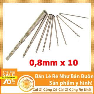 Hộp 10 chiếc mũi khoan mini 0.8 mũi khoan mạch điện tử khoan gỗ khoan đa năng