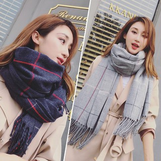 Winter double-sided student bib plaid lengthened warm scarf female imitation cas