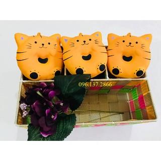 ( ngoctuan8999) Squishy bánh mèo donut mèo vàng sẫm- đồ chơi dễ thương