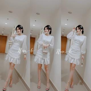 [video thật] Đầm trắng đi tiệc chất voan bi cao cấp dáng ôm đuôi cá xếp ly tay dài freesize kimhoa77