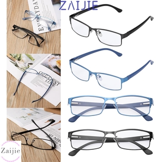 💜ZAIJIE💜 New Fashion Business Reading Glasses Magnifying Vision Care Eyeglasses Flexible Portable Metal Titanium Alloy Ultra Light Resin Men Eye wear +1.00~+4.0 Diopter/Multicolor