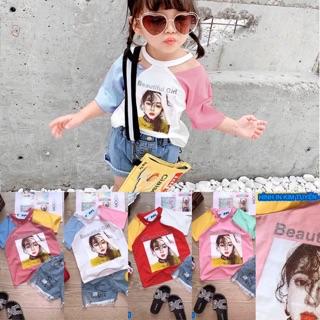 Áo thun bé gái beautiful girl in chữ kim tuyến