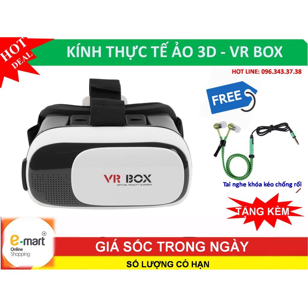 Kính thực tế ảo 3D VR Box thế hệ thứ 2 mới nhất + Tặng tai nghe khóa kéo ZIPPER cao cấp