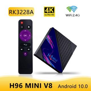 TV Box Android 10 H96 Mini V8 Rk3228A Rock 2gb 16gb 2.4ghz Wifi hỗ trợ Google Play Youtube chất lượng cao