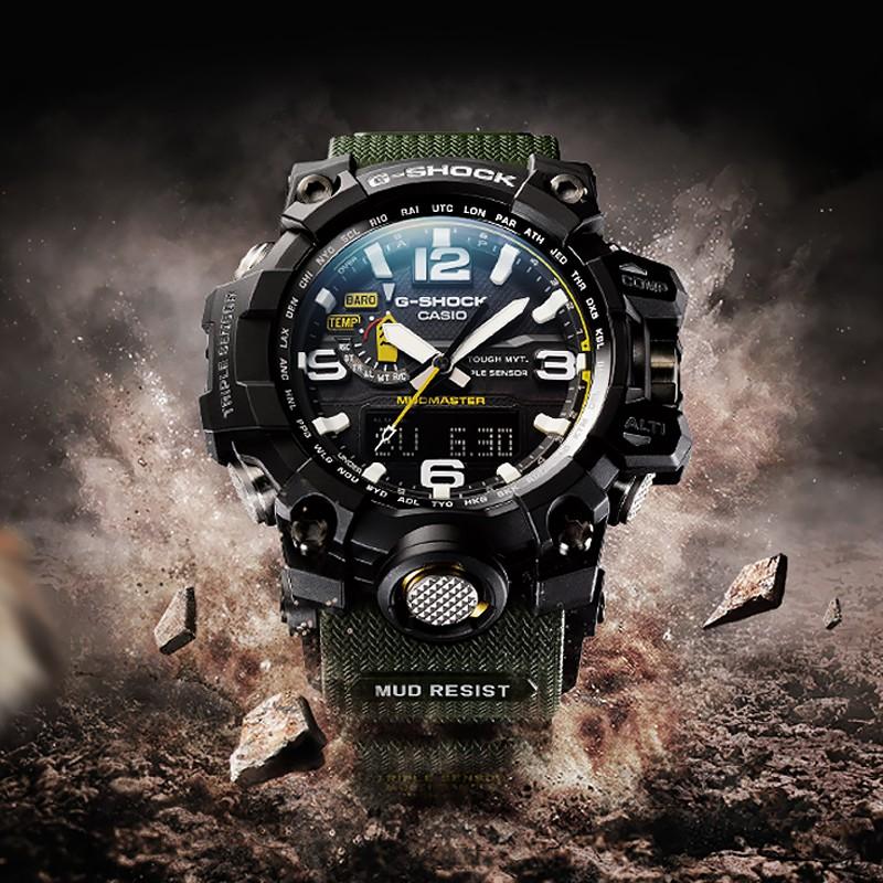 G-SHOCK โคลนกันน้ำและกันกระแทกกระจกกีฬาแซฟไฟร์แก้วเทียมนาฬิกาสำหรับผู้ชาย GWG-1000-1A3