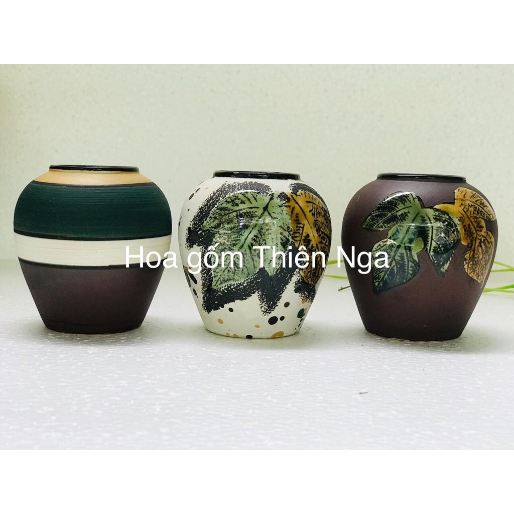 Lọ hoa gốm sứ men khô - Bát Tràng - cao 10cm