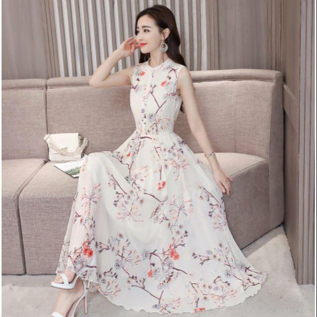 Mặc gì đẹp: Tung bay với Hàng nhập - Đầm dáng xòe maxi voan hoa đào, váy xòe dự tiệc cổ trụ nẹp sang trọng